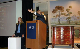 Keno Inaugural Auction May 1-2, 2010 - Leigh Keno selling the James Beekman Chippendale Chippendale Chest of Drawers for a record of $1,428,000 for a New York piece of furniture, from Beekman-Sanders Family.