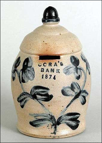 Signs of Spring at Pook and Pook - 1874 stoneware bank which sold for $20,145