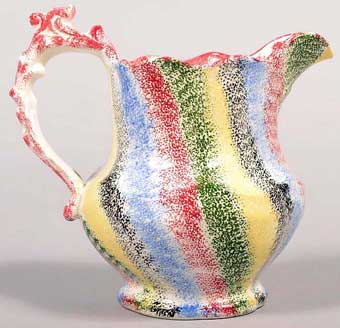 Conestoga Auctions: June, 2013 - Five color rainbow spatterware china milk pitcher sold for $7080