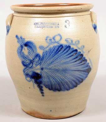 Conestoga Auctions: June, 2013 - A Cowden and Wilcox fern leaf decorated three gallon crock from the Ex Clyde Youtz collection sold for $4425