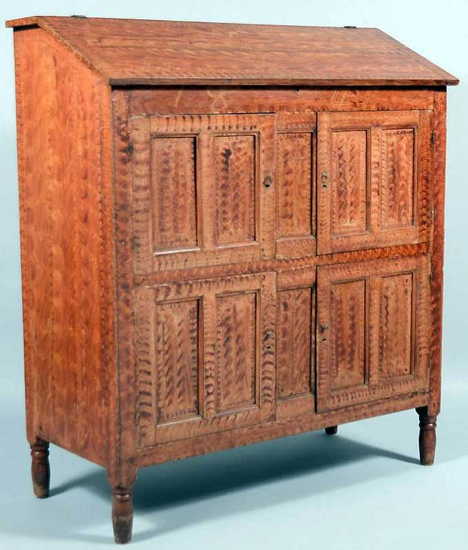 Conestoga Auctions: June, 2013 - 1841 paint decorated Accountant's desk sold for $18,880.