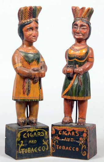 Conestoga Auctions: June, 2013 - Folk art counter top cigar store Indians, twelve inches high, sold for $6195.