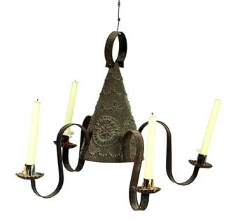 Punched Tin Chandelier American 19th Century Conical Center With Pinwheels And Swags Four Arms Found In The Attic Of An Early Home