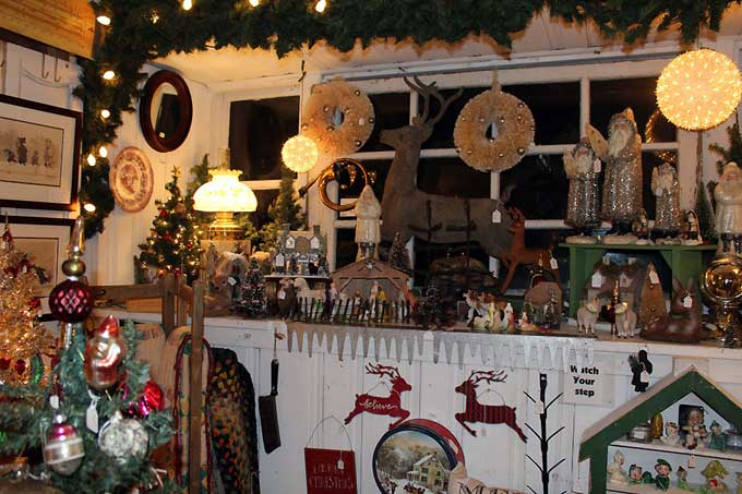 Brandywine River Antiques Market: Chadds Ford, PA - A booth decorated with vintage Christmas items.
