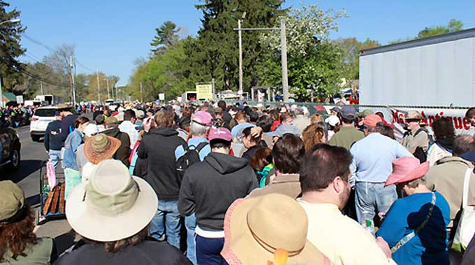 Brimfield Antique Market - People already lined up at the start of May's Antique Market on Thursday, May 14 at 9:00am.