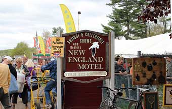 Brimfield Antique Market - The opening of the New England Motel Antiques an Collectibles Show on Wednesday at 9:00am.