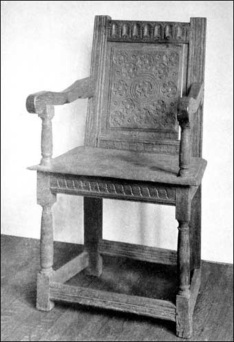 Connecticut Furniture - Carved oak wainscot chair made by Nicholas Disbrowe, known as the Governor Winthrop chair, ca. 1660