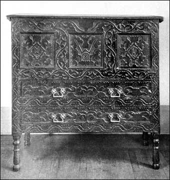 Connecticut Furniture - Carved oak chest with two drawers made by Disbrowe , ca.1670-1680