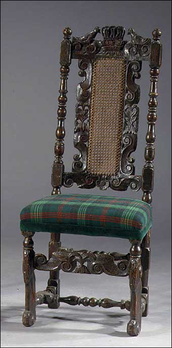 Furniture Styles - Jacobean Oak Hall Chair, 17th Century, sold at Christie's September 20, 2005<br>