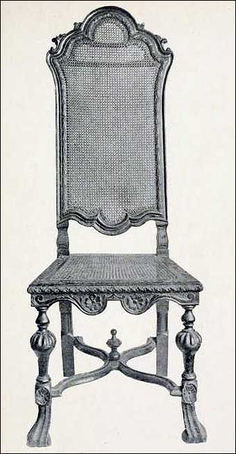 Furniture Styles - James II Jacobean chair with a cane back and seat, turned legs, and a saltier <br>