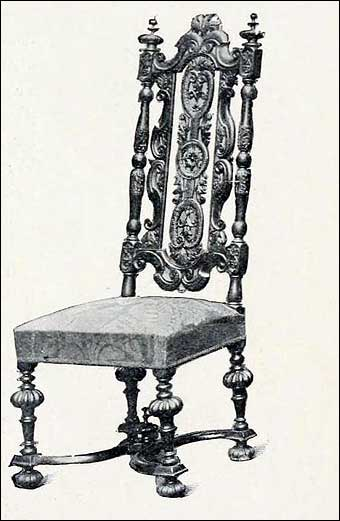 Furniture Styles - Charles II Jacobean open high back chair, finely carved legs and saltier with a stuffed seat covered in old Spanish silk damask