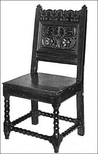 Furniture Styles - Charles I Jacobean Early Jacobean wainscot chair, Derbyshire. The fleur-de-lys on the crest of the chair was commonly used in early Jacobean chairs, but the chair conforms to Charles I period prior to the Cromwellian period<br>