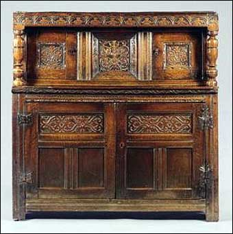 Furniture Styles - Charles II Oak Press Cupboard, circa 1680, sold at Sotheby's, May 22, 2002<br>