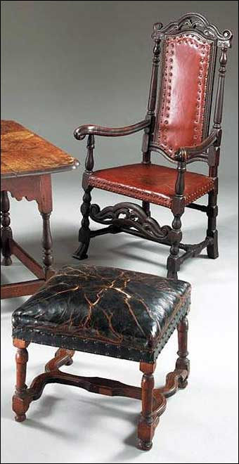 Furniture Styles - Charles II Carved and Turned Beechwood and Oak Armchair together with a Jacobean turned Walnut Stool, Late 17th Century, Sold at Sotheby's January 18, 2003<br>