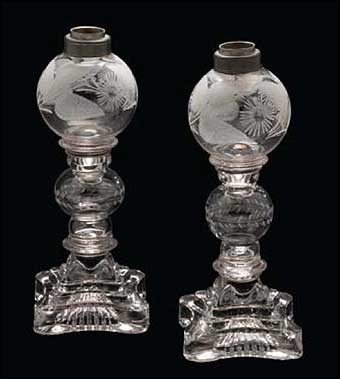 Glass Manufacturing: Pittsburgh, PA - Bakewell Whale Oil Lamps which are blown, pressed, and engraved, 1820-1840 purchased by Corning Museum of Glass