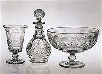 Glass Manufacturing: Pittsburgh, PA - Compote, decanter, and celery vase, Pittsburgh 1825-1840