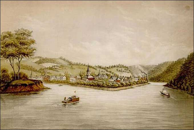 Glass Manufacturing: Pittsburgh, PA - Pittsburgh in 1817. The smoke from the columns on the right are probably Bakewell's glass house at the foot of Grant Street