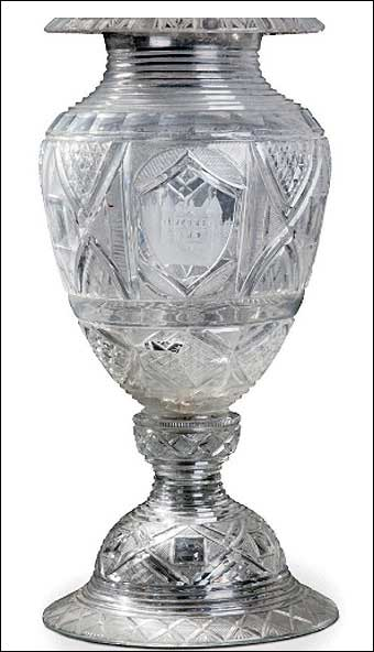 Glass Manufacturing: Pittsburgh, PA - One of the vases presented to Lafayette on his trip to Pittsburgh in May 1825. The vase sold at Christie's in Paris for $267,022. It is signed and dated on the base of the vase 'Bakewell Page Bakewells Pittsburgh 1825' or '1829.' The body of the vase was restored and has some chips, cracks and losses.<br>