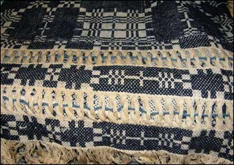 Jacquard Loom - Blue and white interwoven coverlet
