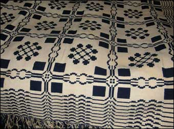 Jacquard Loom - Blue and white double weave coverlet -  Windows & Lover's Knots Pennsylvania - front