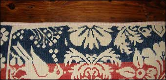 Jacquard Loom - The top edge of the coverlet