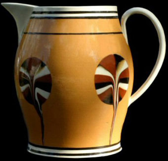 Mochaware - Creamware jug with dipped fans, ca. 1810, 8