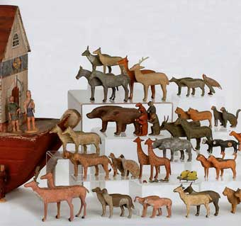 Christmas Toys - Animals from a 19th Century Noah's Ark.