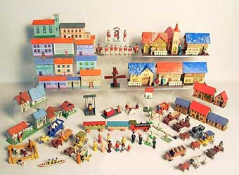 Christmas Toys - An Erzebirge toy village that sold for $650 in Spring City, Pennsylvania.