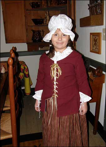 East Berlin Christmas House Tour - Grace dressed up as a colonial girl at the George Laurentz House