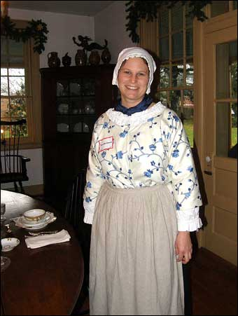 East Berlin Christmas House Tour - Jennifer Oswald dressed up as a colonial lady