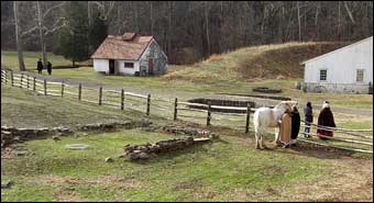 Hopewell Furnace, PA - Pastoral Scene at Hopewell. The blacksmith shop is in the background