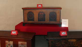 House of Miller at Millbach - Three of the blanket chests being offered at the auction. Number 62 is Chip Henderson's pride and joy.