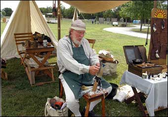 Washingtonburg, PA - Dan Eisenhour demonstrating shaving a horn with a drawknife