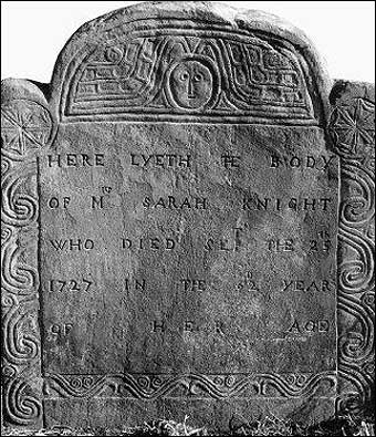 Journal of Madam Knight - The grave of Madam Knight in New London, Connecticut