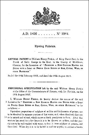 Natural Dyeing - W.H. Perkins patent in August 1856