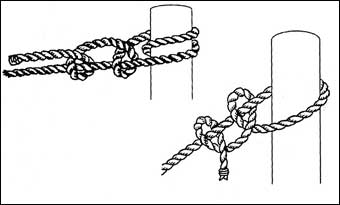 Bed Roping - Use this double half hitch knot to tie the rope to cross pieces<br>