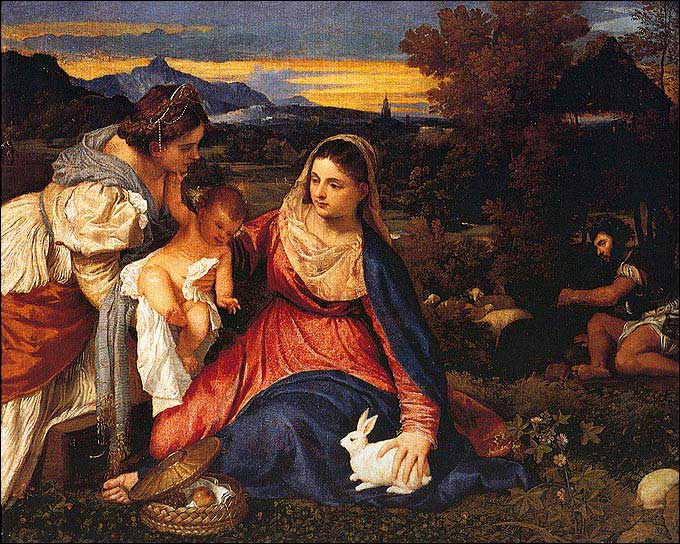 Easter Rabbit - Madonna with a Rabbit, Titian, 1529-1530, Paris, Musee du Louvre
