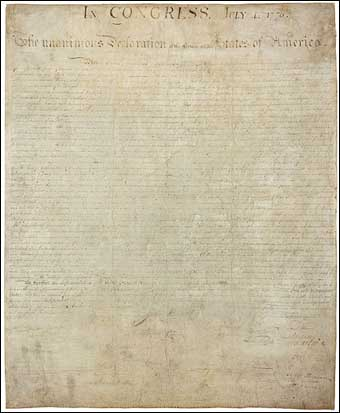 Independence Day - Signed copy of the Declaration of Independence on display at the National Archives in Washington DC