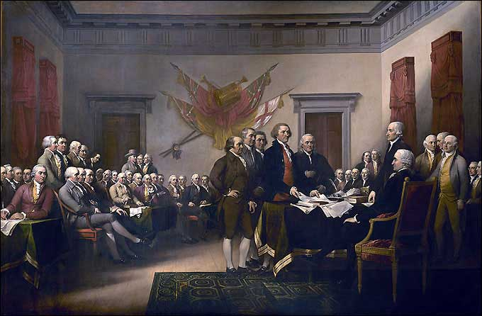 Independence Day - John Trumbull's painting of the drafting committee presenting its work to Congress