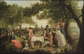 Independence Day - A Pic Nick, Camden Maine painted by Jerome Thompson, 1850
