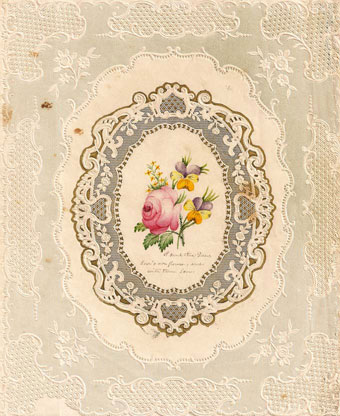 Valentine's Day - Lace Quarto with watermark: NASH? Open-work cameo-embossed lace in wide border design with central medallion, which is embossed with gilt accented border; the interior features an original watercolor of roses and pansies, and tender message.