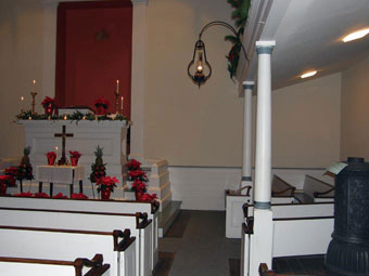 Church Customs - Inside St Peter's Kierch, the stove is on the right.