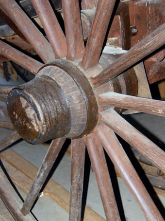 Conestoga Wagon - A closeup of a wheel on a Conestoga wagon, private collection