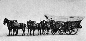 Conestoga Wagon - A man with his Conestoga wagon and team