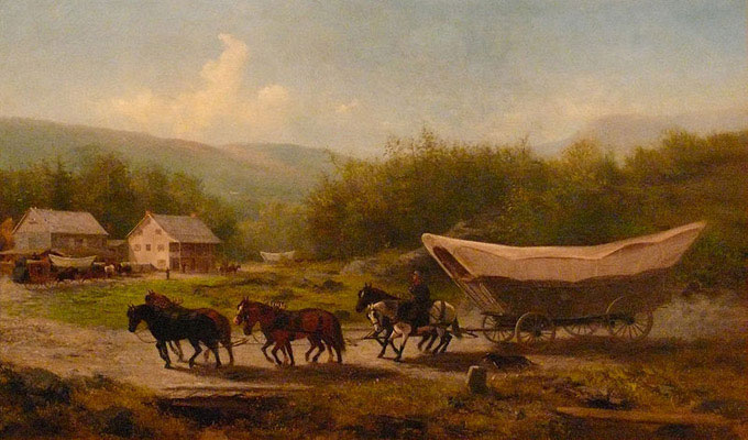 Conestoga Wagon - Photograph by Ed Meskens of a painting completed in 1883 by Newbold Hough Trotter (1827-1898), painting is in the State Museum of Pennsylvania