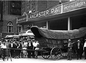 Conestoga Wagon - An old photo of an Conestoga wagon in Lancaster Pennsylvania