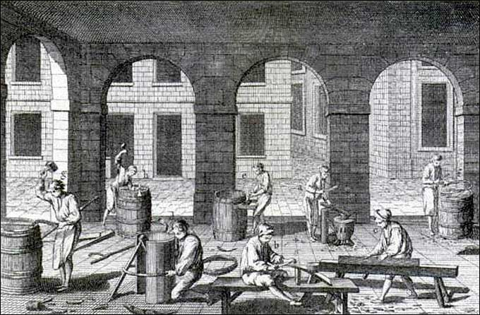 Cooper - Tonnelier (Cooper). Plate 1 of volume 10 of Denis Diderot L'Encyclopédia (1751). The process of jointing and shaping can be seen in the right foreground. Wooden hoops of hazel and another flexible are holding the barrels together. <br>