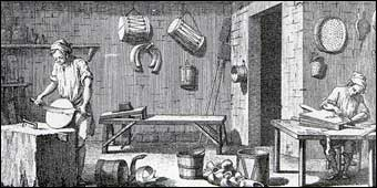 Cooper - Boisselier (White cooper). Plate 1 of volume 2 of Denis Diderot L'Encyclopédia (1751). White coopers made other items not usually associated with a cooper, such as shoes or sabots as pictured in the foreground, military drums, fire bellows, and washtubs