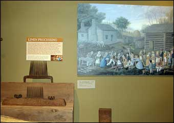 Coverlets - Linen Processing and a reproduction painting of a flax scutching festival<br>