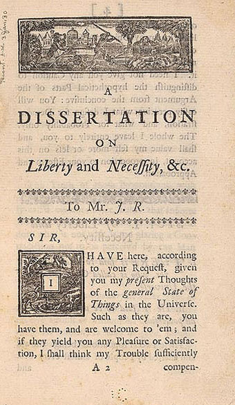 Ben franklin dissertation on liberty and necessity
